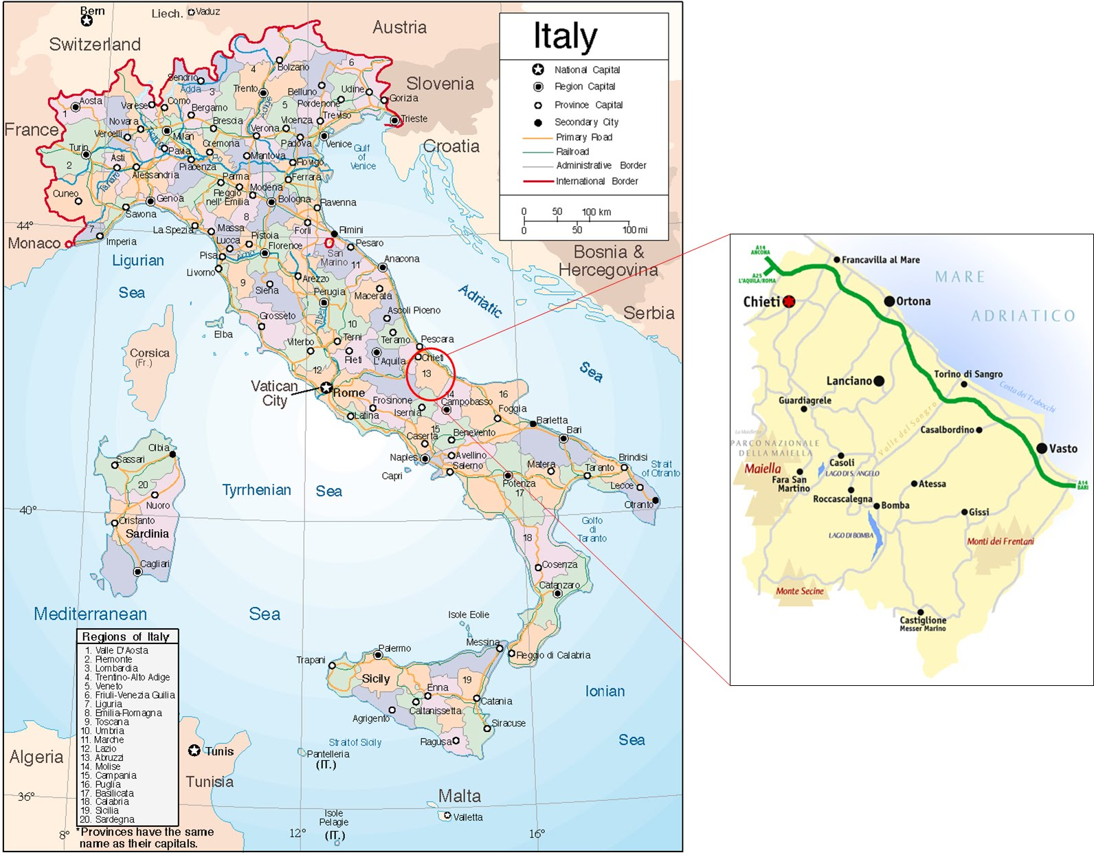 Italy Map Regions Provinces.International Study Of Re Regions Province Of Chieti Abruzzo Italy