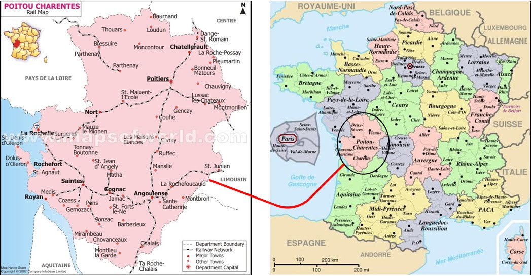 Poitou France Map.International Study Of Re Regions Region Of Poitou Charentes France