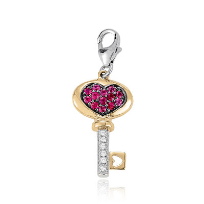 Ruby Heart Key Charm