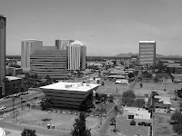 Black and white photo of Downtown Phoenix