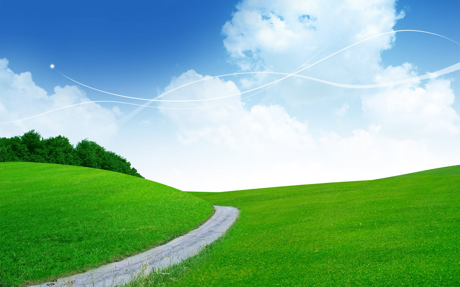 Sky Wallpapers: Pleasant Green & Sky Background Wallpapers