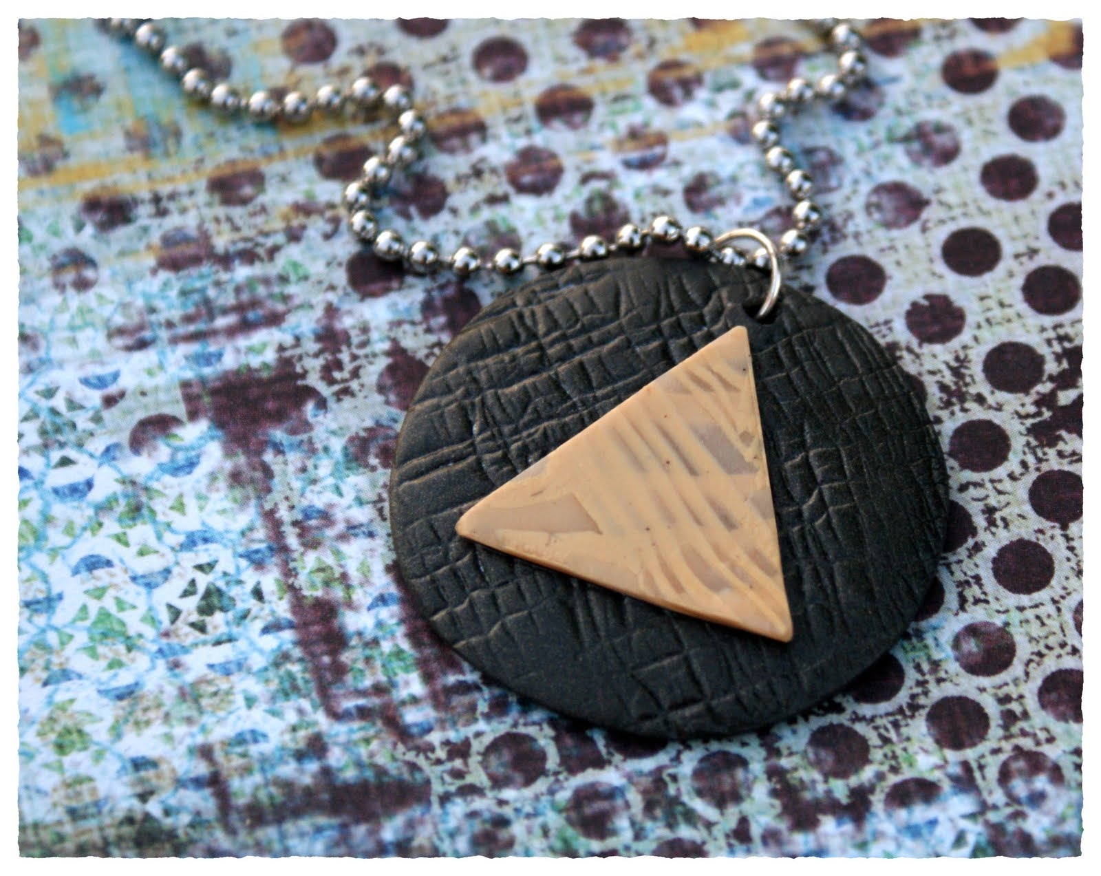 Clay Triangle Drawing Day O Clay 3 Faux Ivory Aa Circle Triangle Pendant