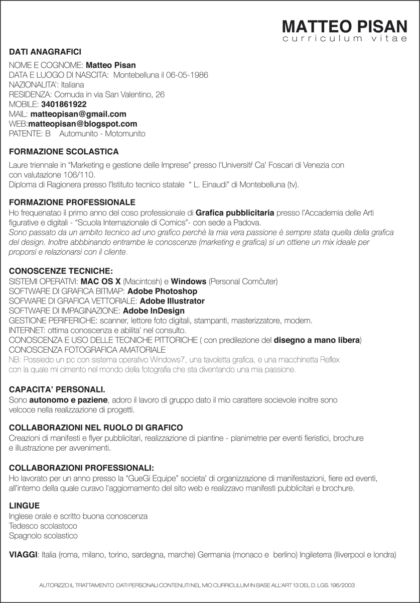curriculum vitae model european limba italiana