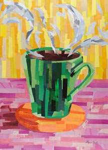 Green coffee cup by collage artist Megan Coyle