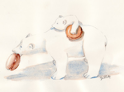 Bear watercolor - Parisbreakfasts