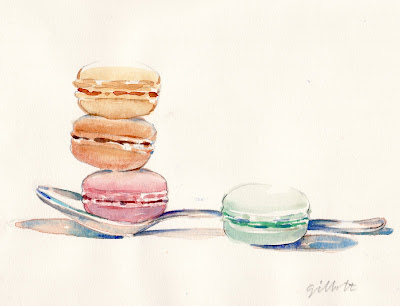 Spoon with three macarons - ParisBreakfasts