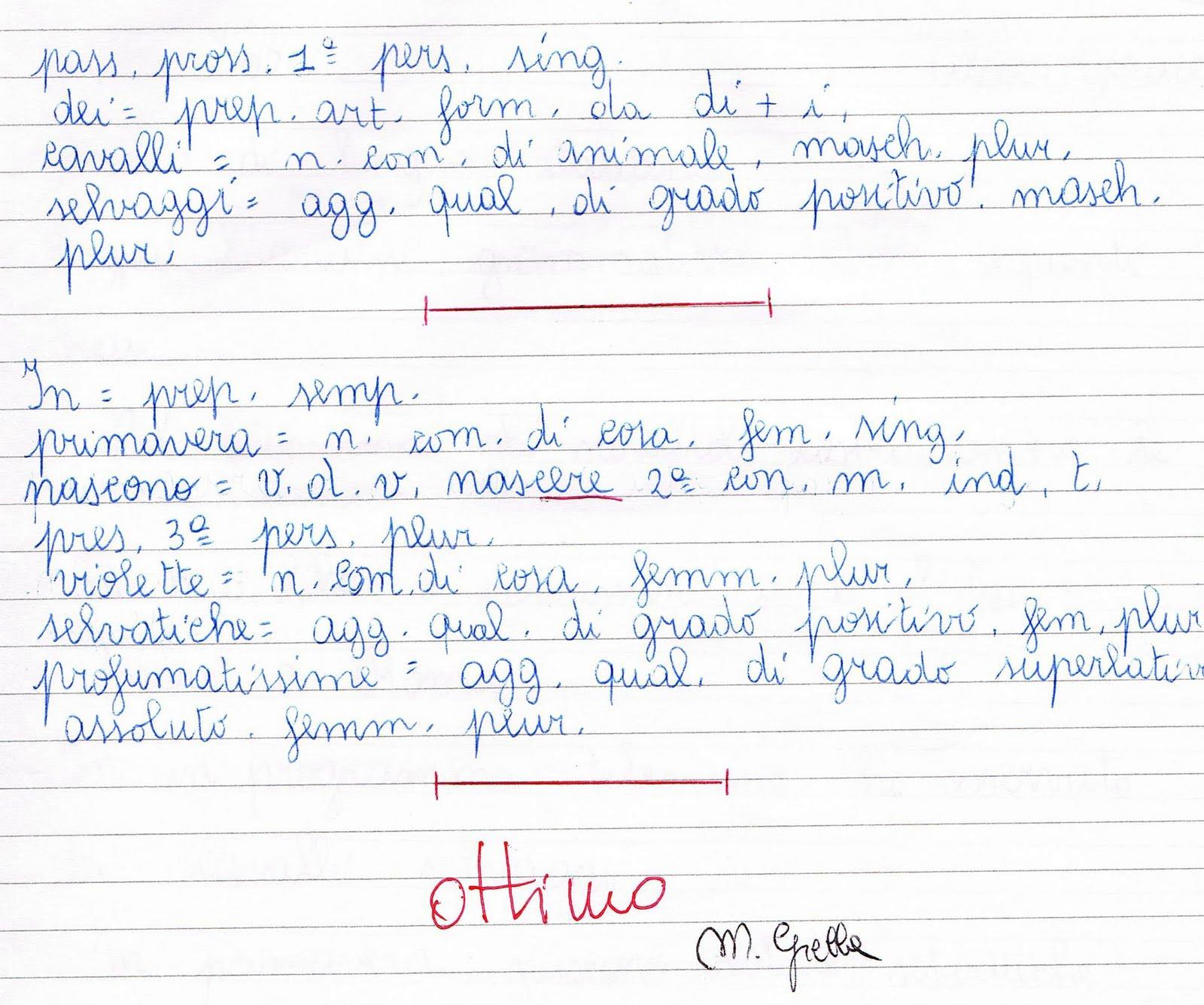 verifica di analisi grammaticale per la classe quarta