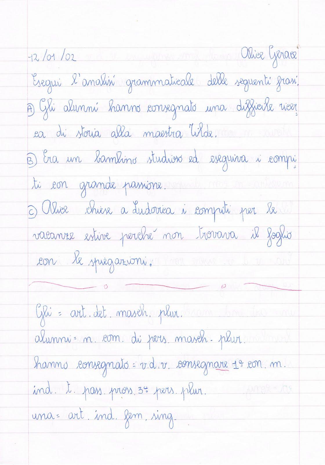 Esercizi Di Analisi Grammaticale Per La Classe Quarta Della Scuola