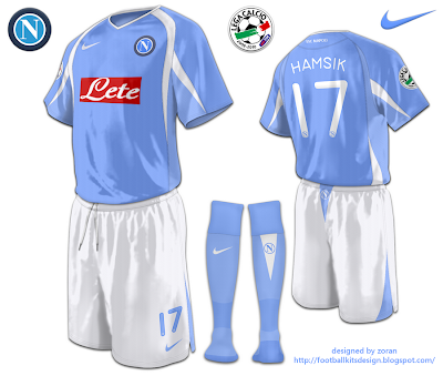 I start with the requested teams and here is SSC Napoli kits with Nike  instead of macron. The home kit is traditional sky blue and white. ae742fc08