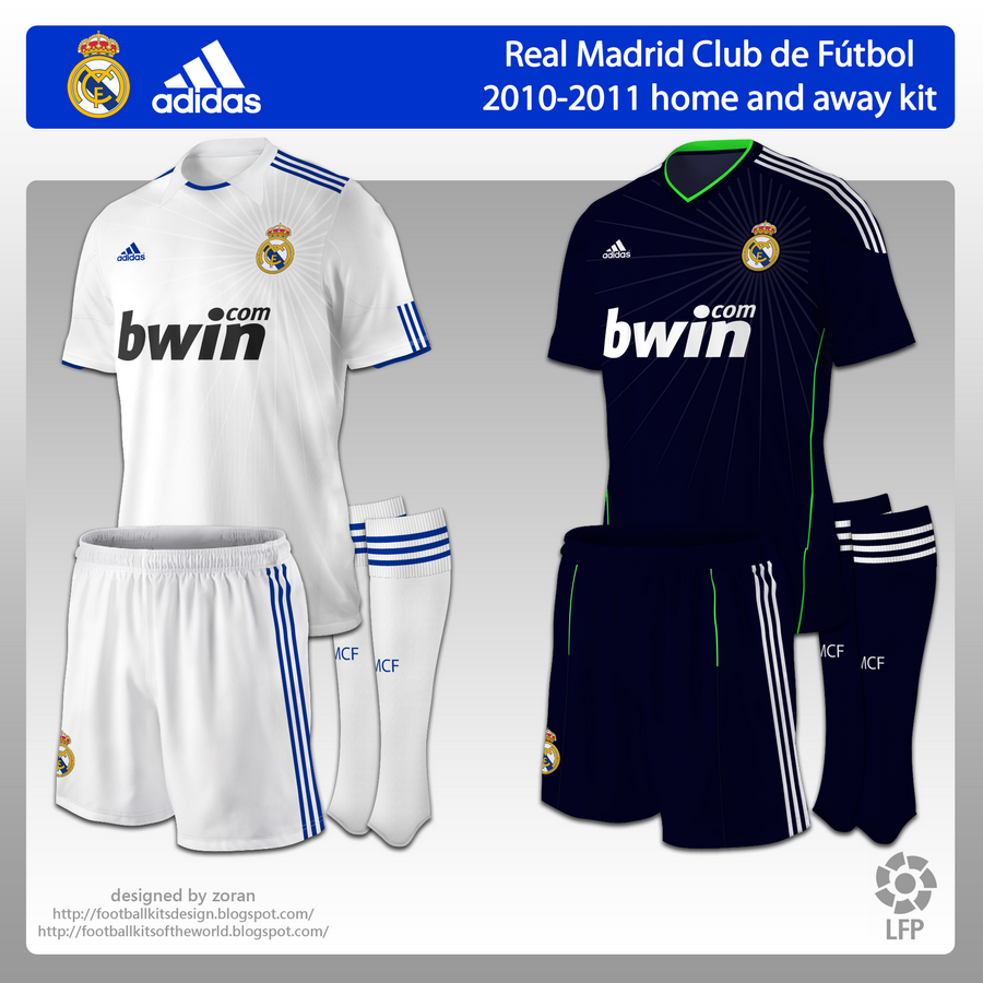 football kits of the world: Real Madrid 2010-2011 home and