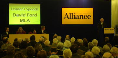 Alliance leader David Ford delivering his speech at conference