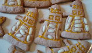 Close-up of Dalek cookies