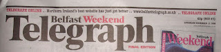 Belfast Telegraph masthead - Saturday evening (compact) final edition