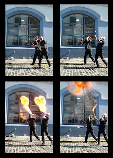Montage of time-lapsed photos of fire breathers outside the Black Box at the launch of the tenth Cathedral Quarter Arts Festival in Belfast