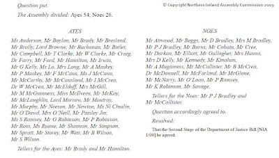 snippet from Hansard showing Justice Bill voting (c) Northern Ireland Assembly Commission 2009