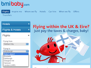 bmibaby website offering routes to Edinburgh and Glasgow