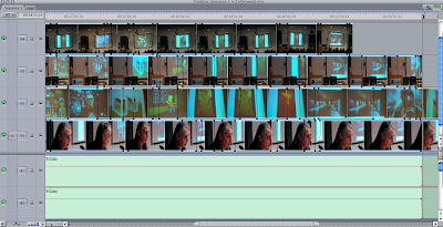 screen shot of Final Cut Express edit timeline showing use of opacity to cut between synchronise shots