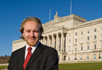 Steven Agnew - leader of the Green Party in Northern Ireland - standing outside Parliament Buildings at Stormont