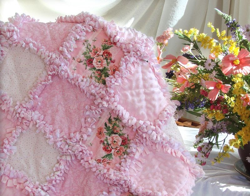 Baby Rag Quilts Pink Roses Baby Girl Rag Quilt