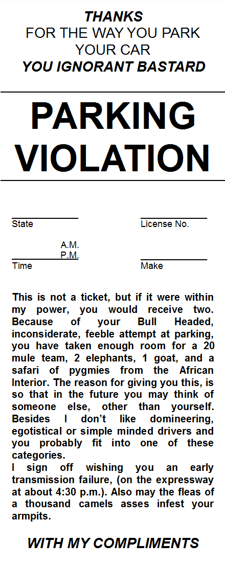 It is an image of Fake Parking Ticket Printable within fillable