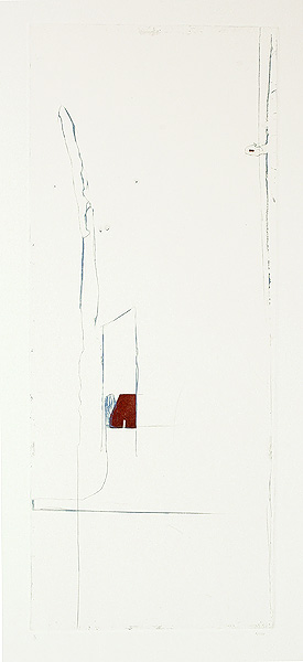 Opening, 1997. etching, drypoint & chine colle on Hahnemuhle printmaking paper. 60.5 x 25.4 cm (plate image size) on 81 x 60 cm paper size