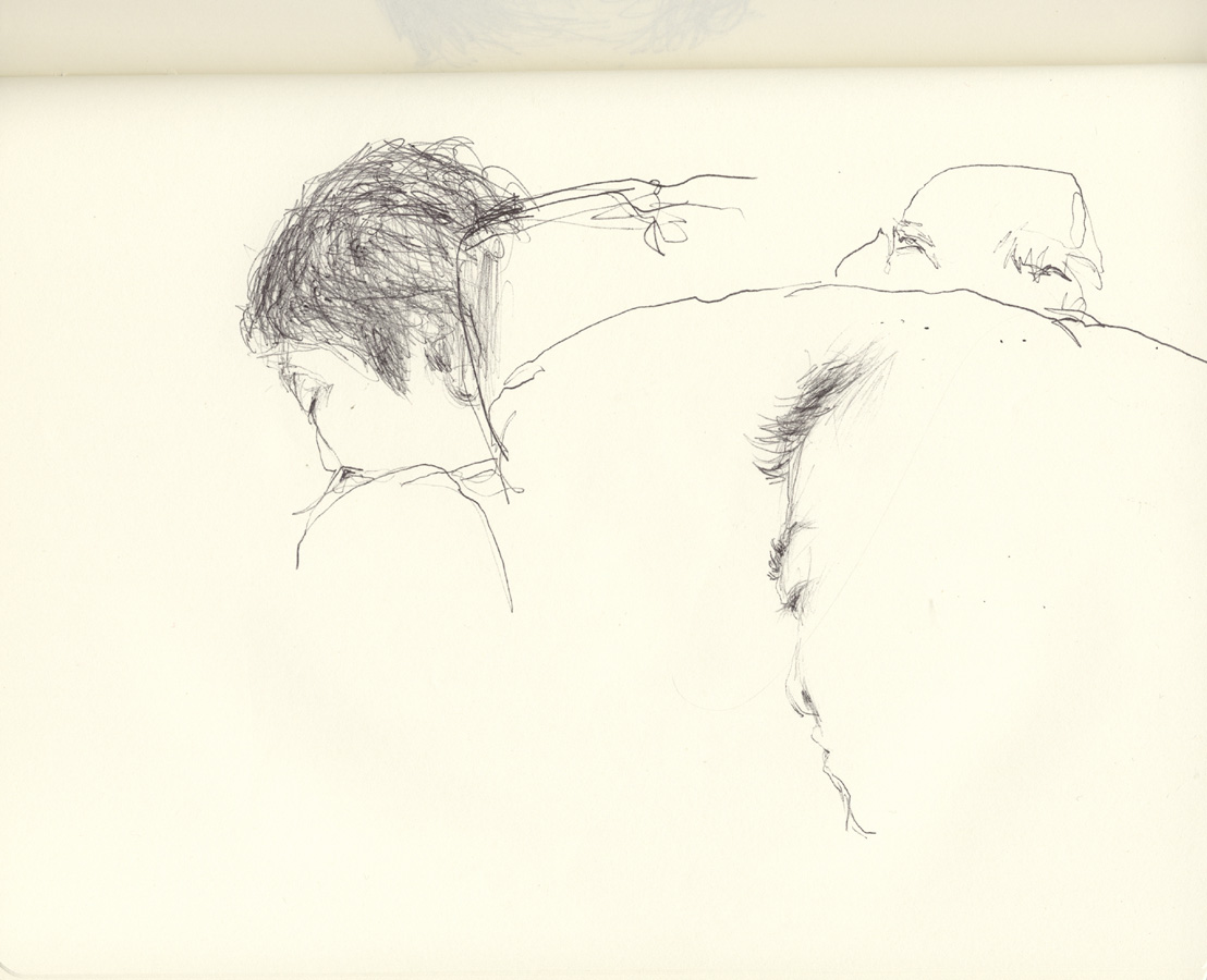 Sleeping Heads (on plane to Hawaii 3.31.09), 2009. pen drawing in sketchbook. 19 x 25cm