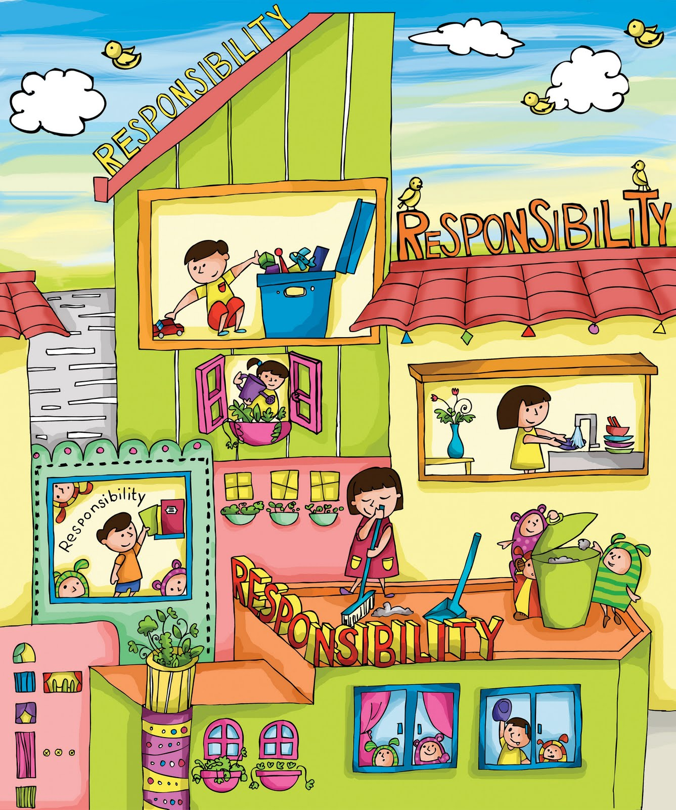 Melokumi: RESPONSIBILITY   Children Illustration