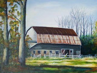 Old Barn Acrylic Painting I Am Also Working On – Update 1