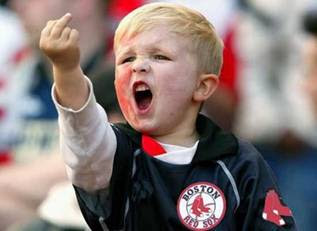 Red Sox fan, child, middle finger