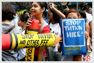 Students fighting against tuition hikes in the Philippines