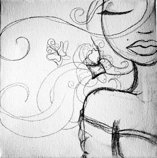 Une femme sensuelle aux lèvres rouges et les yeux fermé, sur fond rouge, a une grande queue de cheval noir.elle a des bijoux en perles des boucles d'oreille mirroir, cette illustration, cette peinture s'appelle princesse glamour et elle est réalisé par laure phelipon