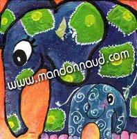 un éléphant et son petit bébé éléphant, de toutes les couleurs très décoratif en peinture par l'illustratrice laure phelipon pour illustrer le livre de valy