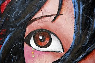 peinture sur toile 60 x60 cm illustratrice laure phelipon, une femme au regard profond qui désir