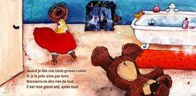 illustration de petite fille en colère qui jette son nounours dans la salle de bain par l'illustratrice laure phelipon