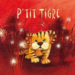 un petit tigre dans la savane qui cherche sa maman fond rouge couleur de couché de soleil pour un album jeunesse par l'illustratrice laure phelipon