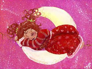 petite princesse endormie sur la lune dans une jolie robe sur fond rose illustratrice laure phelipon