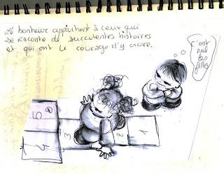 illustration c'eest nul les filles, avec une petite fille qui joue à la marelle et des amoureux qui se font un bisou assis sur la lune illustratrice laure phelipon