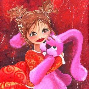 Illustration de mon lapin rose d'amour (peinture acrylique)