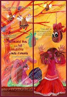 Une illustration de notre petite fille devant la vitrine de la confiserie des lapins en chocolat, des oeufs en chocolat, des cloches de pâques des couleurs,une petite fille avec des couettes illustratrice jeunesse laure