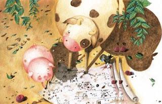 Illustration intérieur du cochon qui cherche à voir le ciel avec l'aide de son amie la vache.