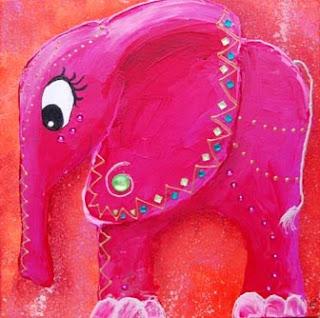 un éléphant rose à la robe digne des milles et une nuits