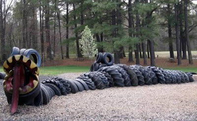 Sculptures from used tires