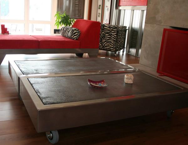 table beton com la table basse b ton sur roulettes. Black Bedroom Furniture Sets. Home Design Ideas