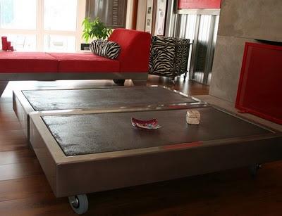 Table beton com la table basse b ton sur roulettes Table basse sur roulette