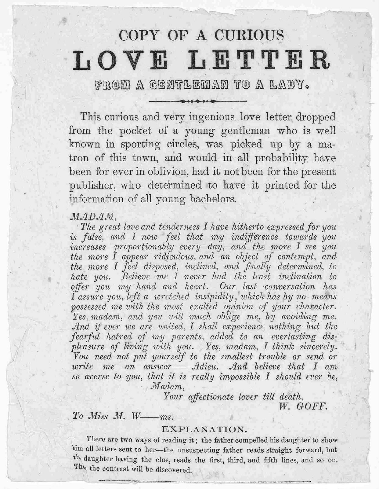 riddle of a curious love letter