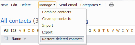 Restore Contacts in Hotmail