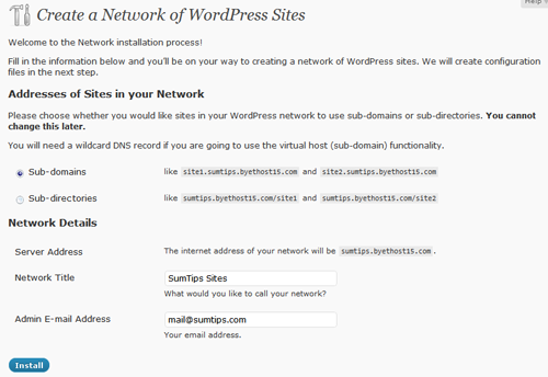 Enable WordPress Multisite 3