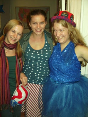 Darcy, Lindsay, and me in red white and blue outfits