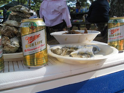 beer cans and oyster shells