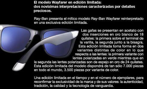 9045b242c Gafas de Sol Novedades: Ray Ban Wayfarer Edición Limitada con ORO BLANCO